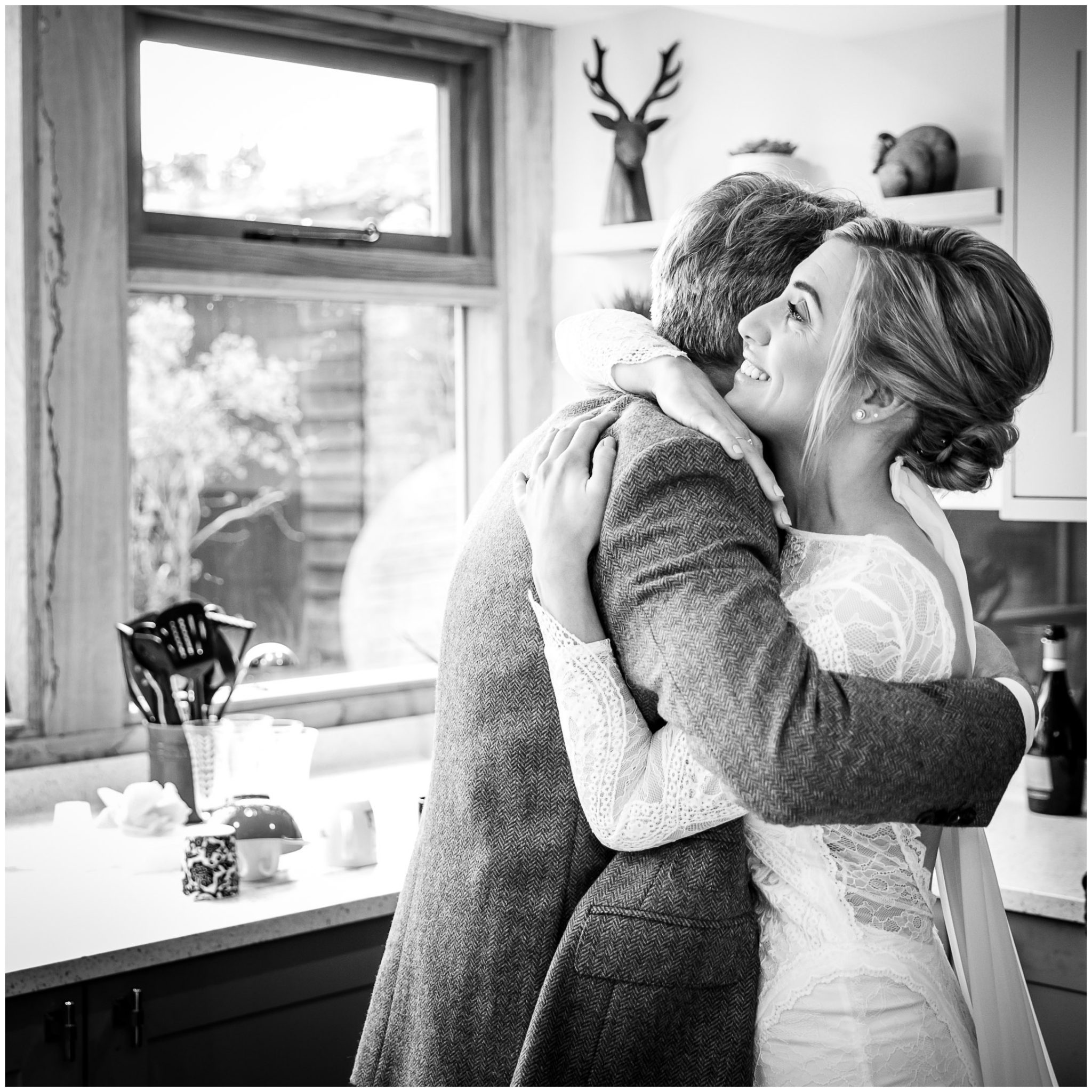A hug for the bride before she sets off for the ceremony