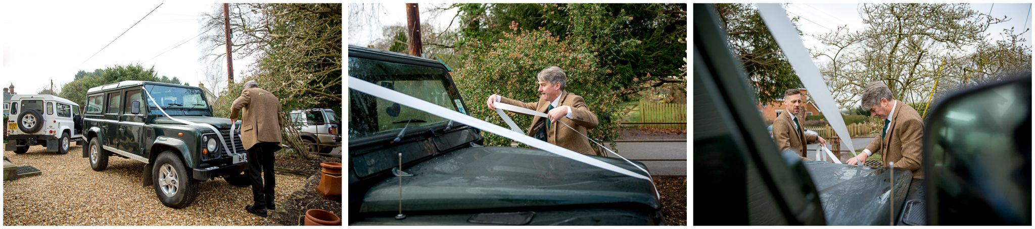 Preparing the wedding cards; classic Landrovers