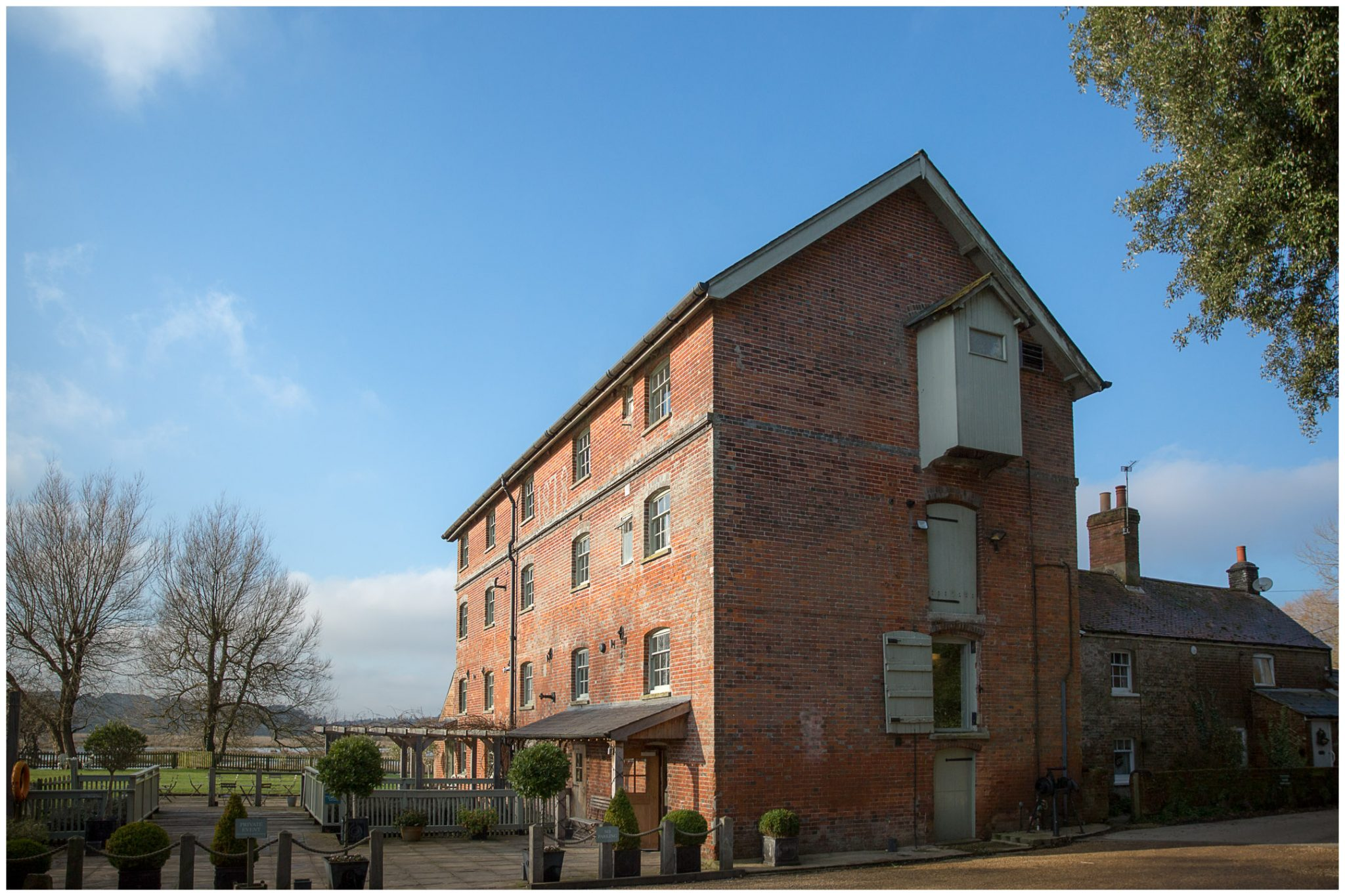 Exterior view of Sopley Mill in the Winter light