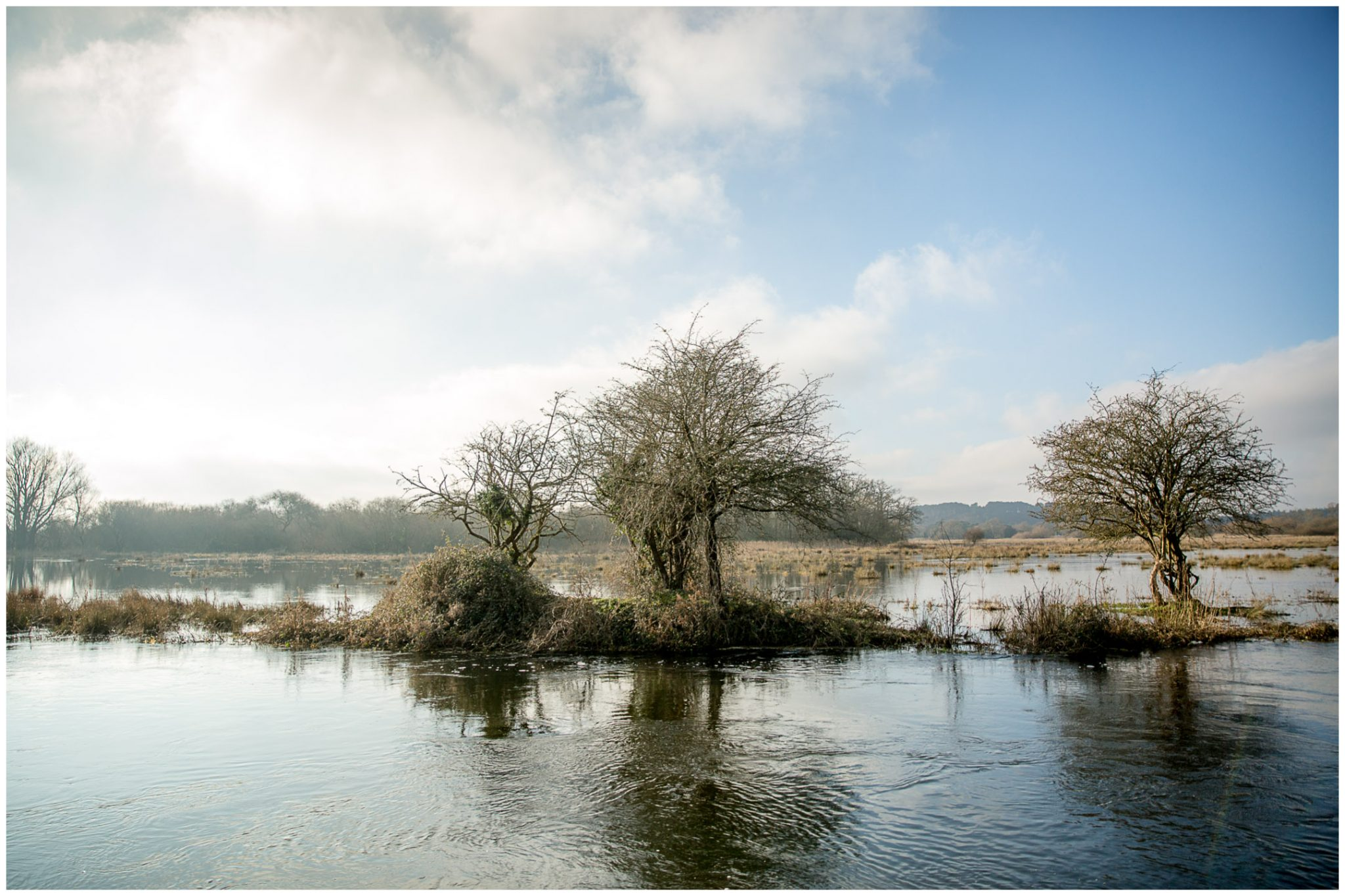 View across the flooded water meadows surrounding the Mill