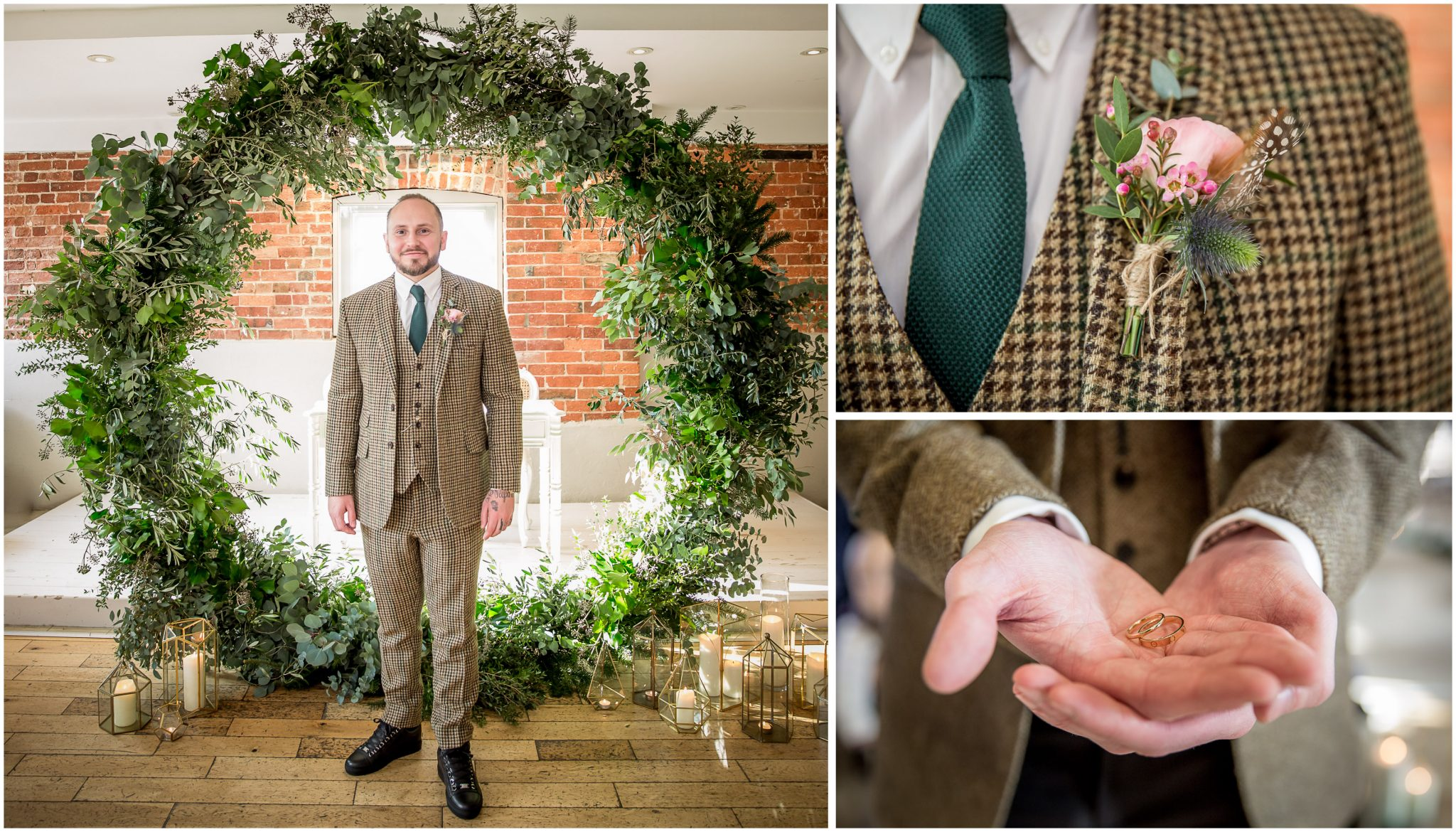The groom stood at the front of the ceremony room in his self-tailored suit