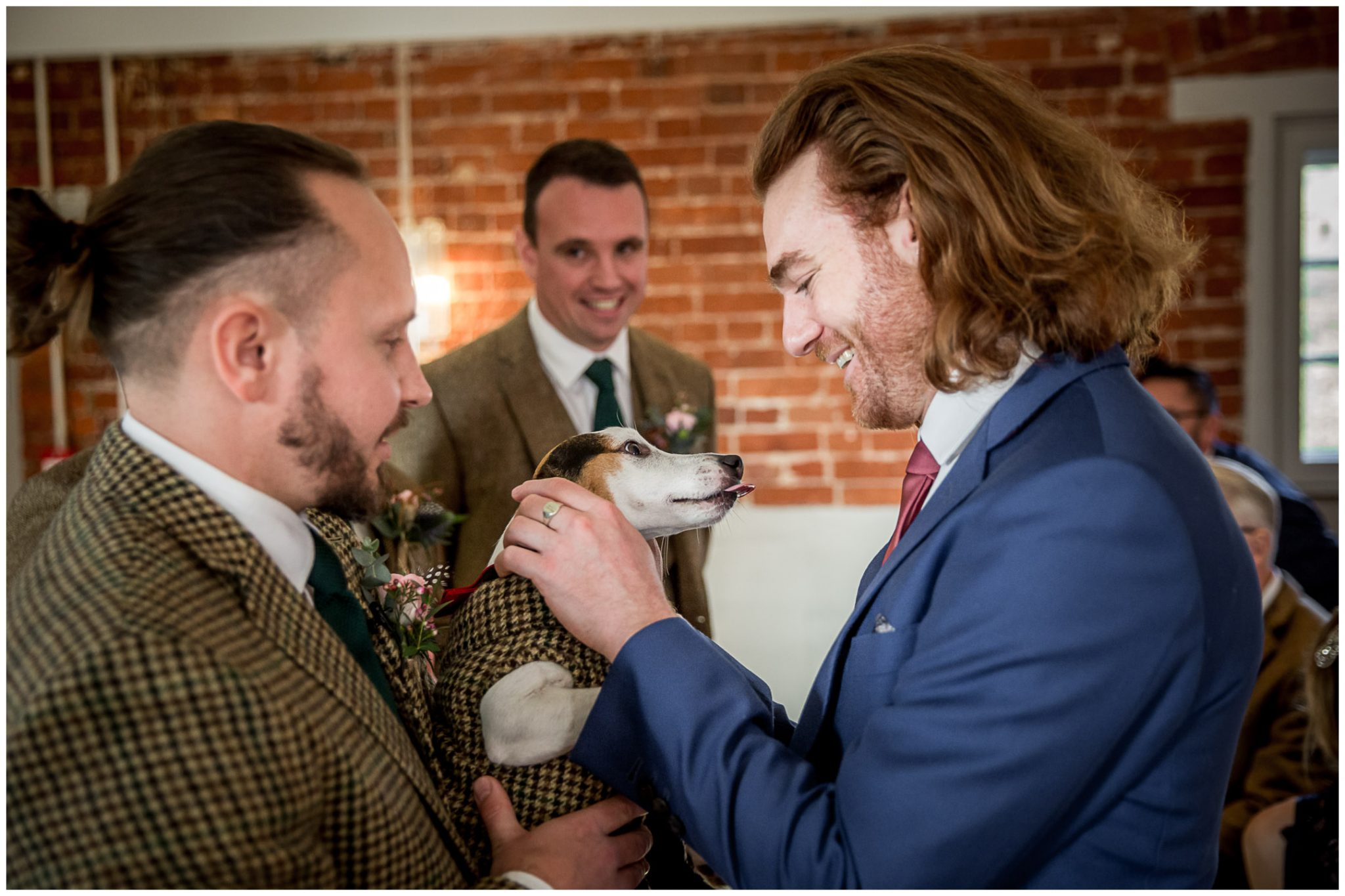 Groom and dog in matching suits