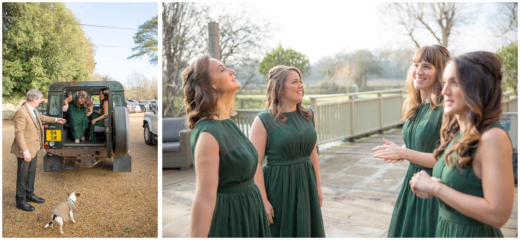 Bridesmaids arrive at Sopley Mill wedding venue