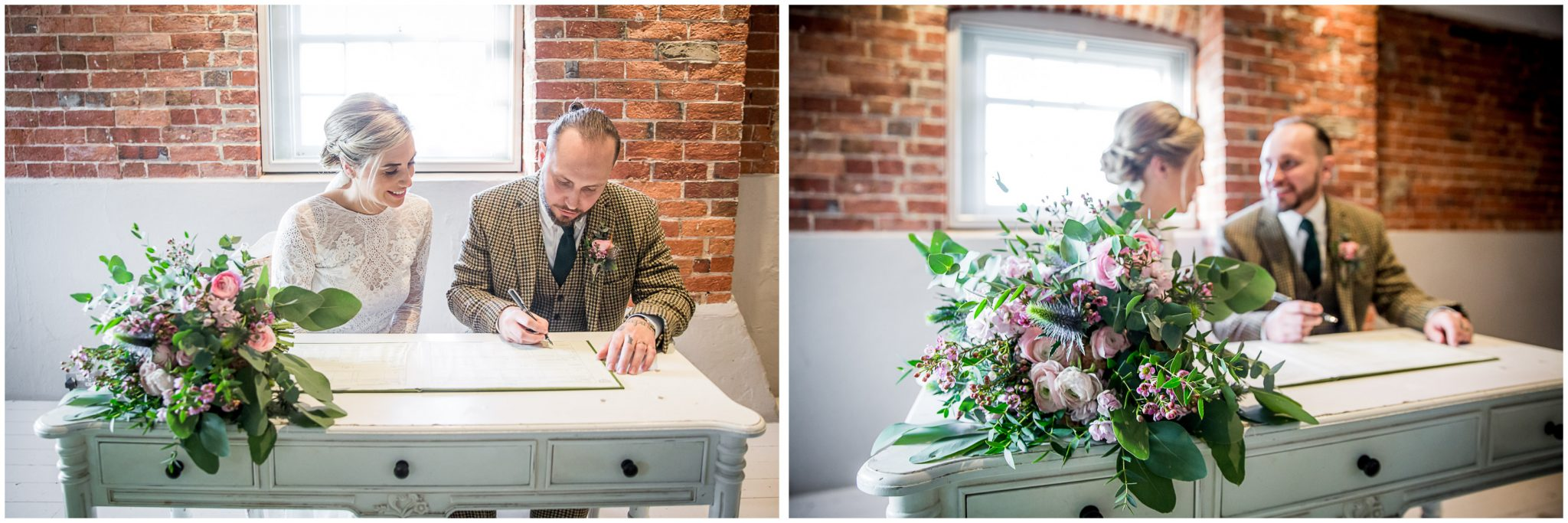 Signing the register at Sopley Mill wedding venue in the main ceremony room