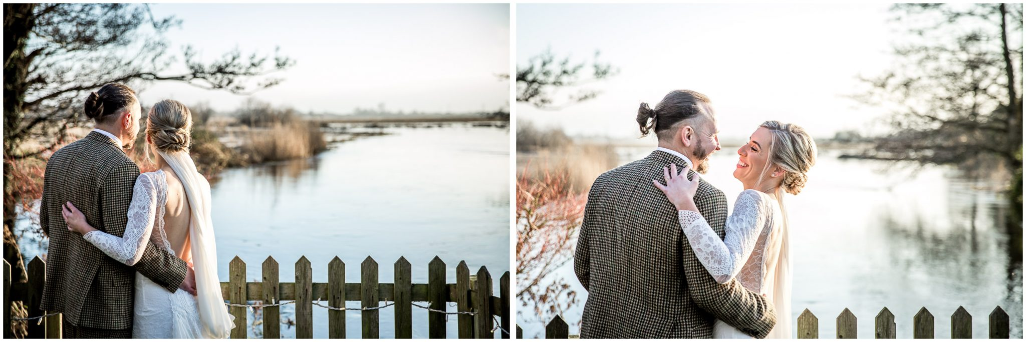 Bride and groom looking out across the flooded water meadows