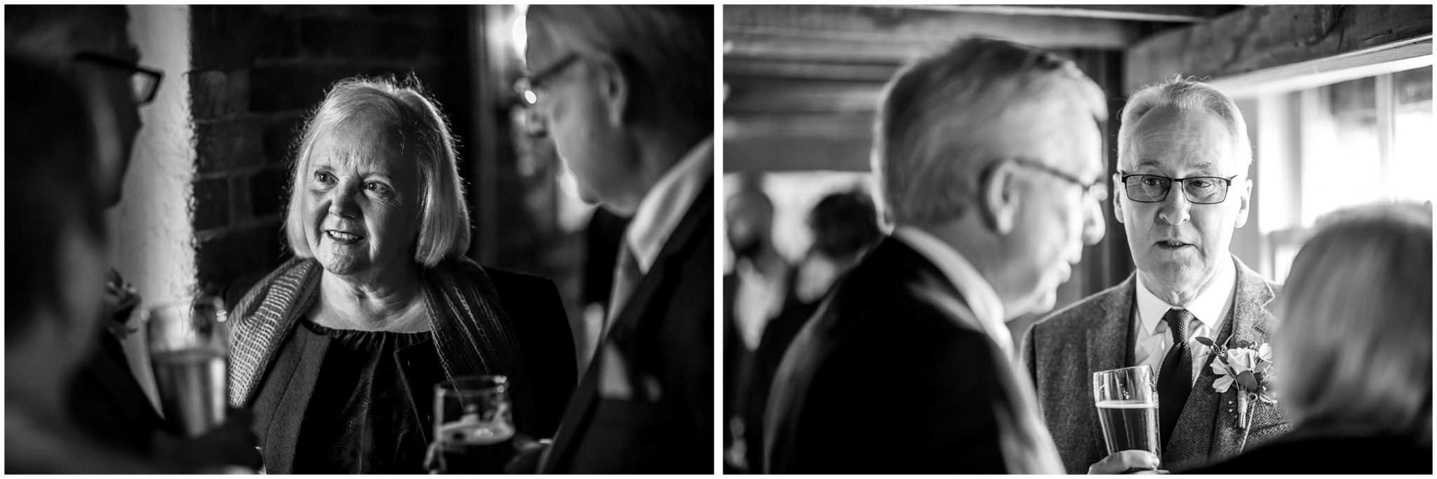 Black and white candid photos of wedding guests during reception