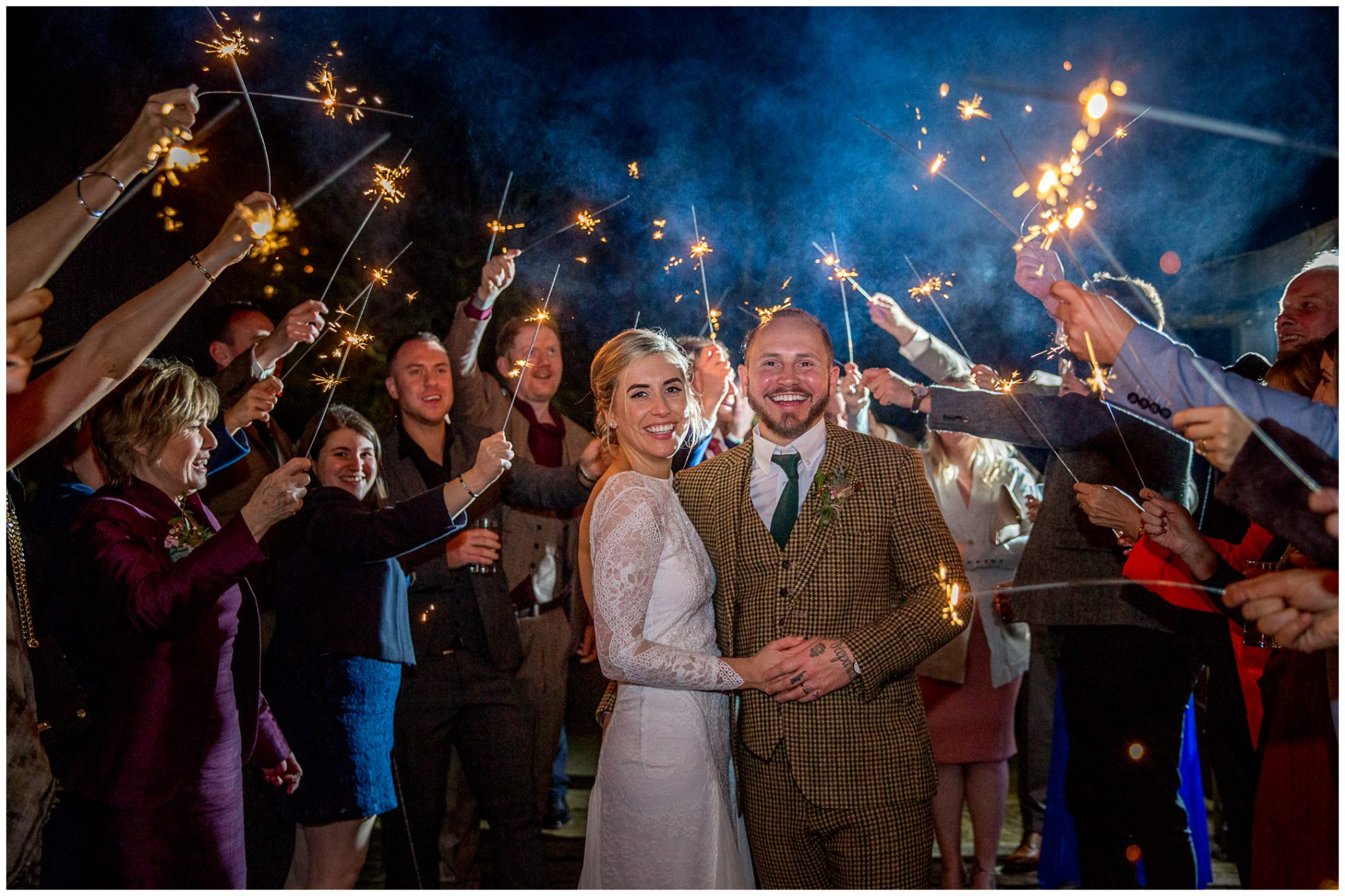 Bride and groom with sparklers