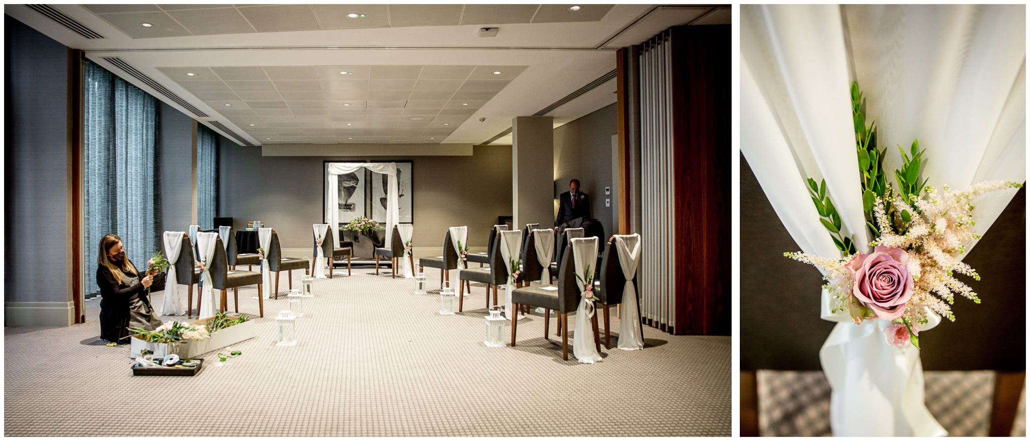 Florist decorates the ceremony room socially distanced seating