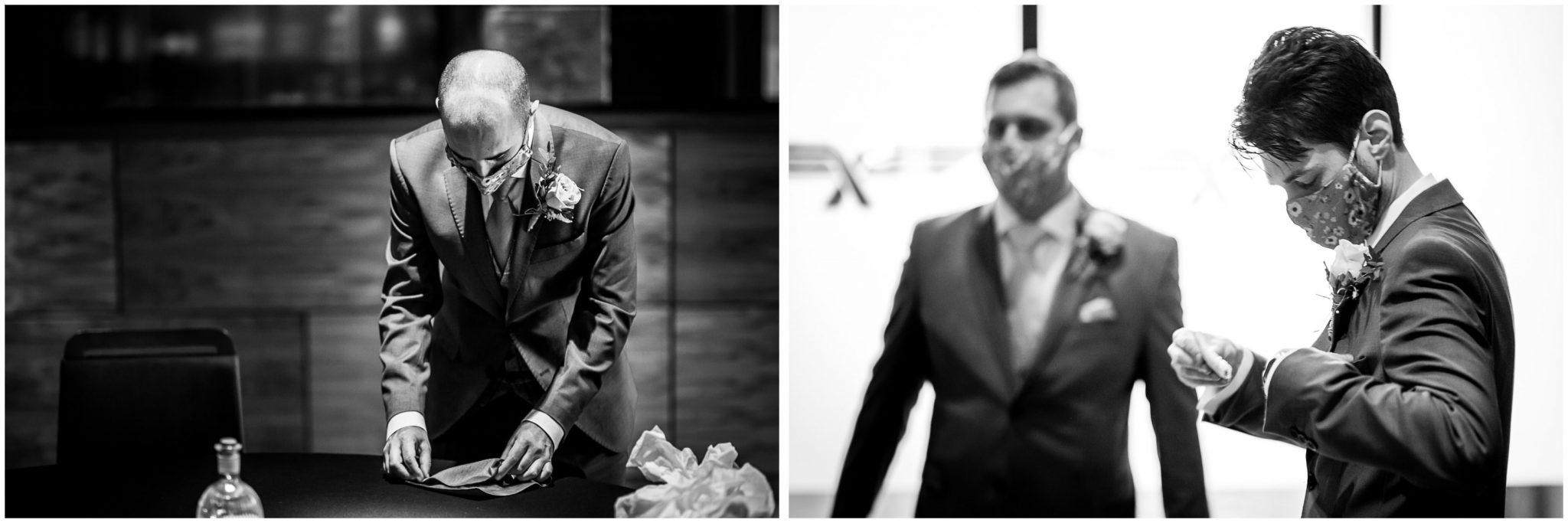 Black and white photographs of groomsmen getting ready