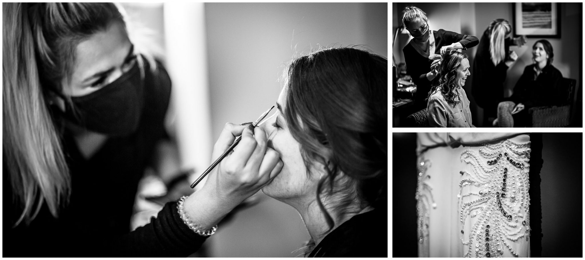 Black and white bridal preparation and dress detail