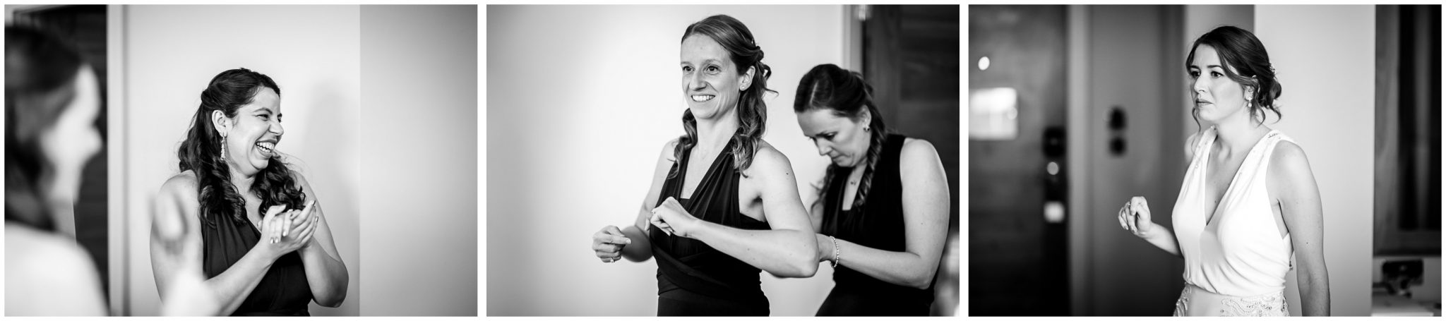 Bridesmaids getting ready in hotel suite black and white photos
