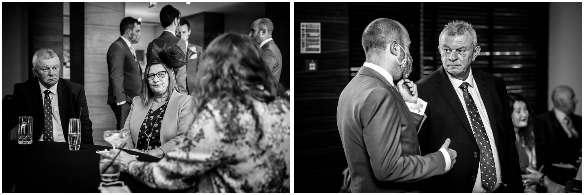 Black and white images of guests before the marriage ceremony