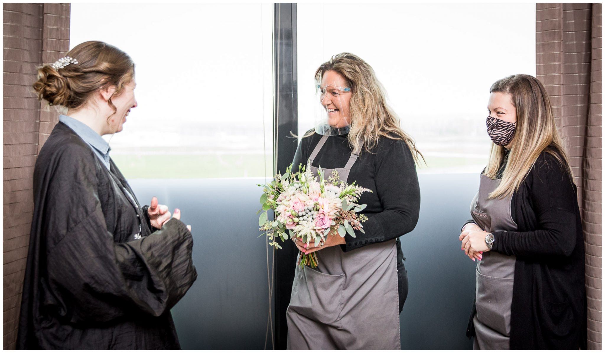 Florists deliver the bouquets to the bridal suite