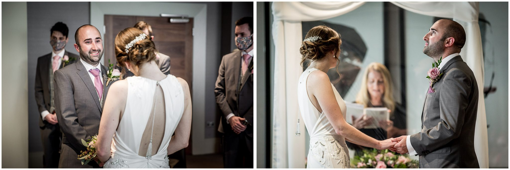 Bride and groom turn to face each other and smile at the start of the marriage ceremony