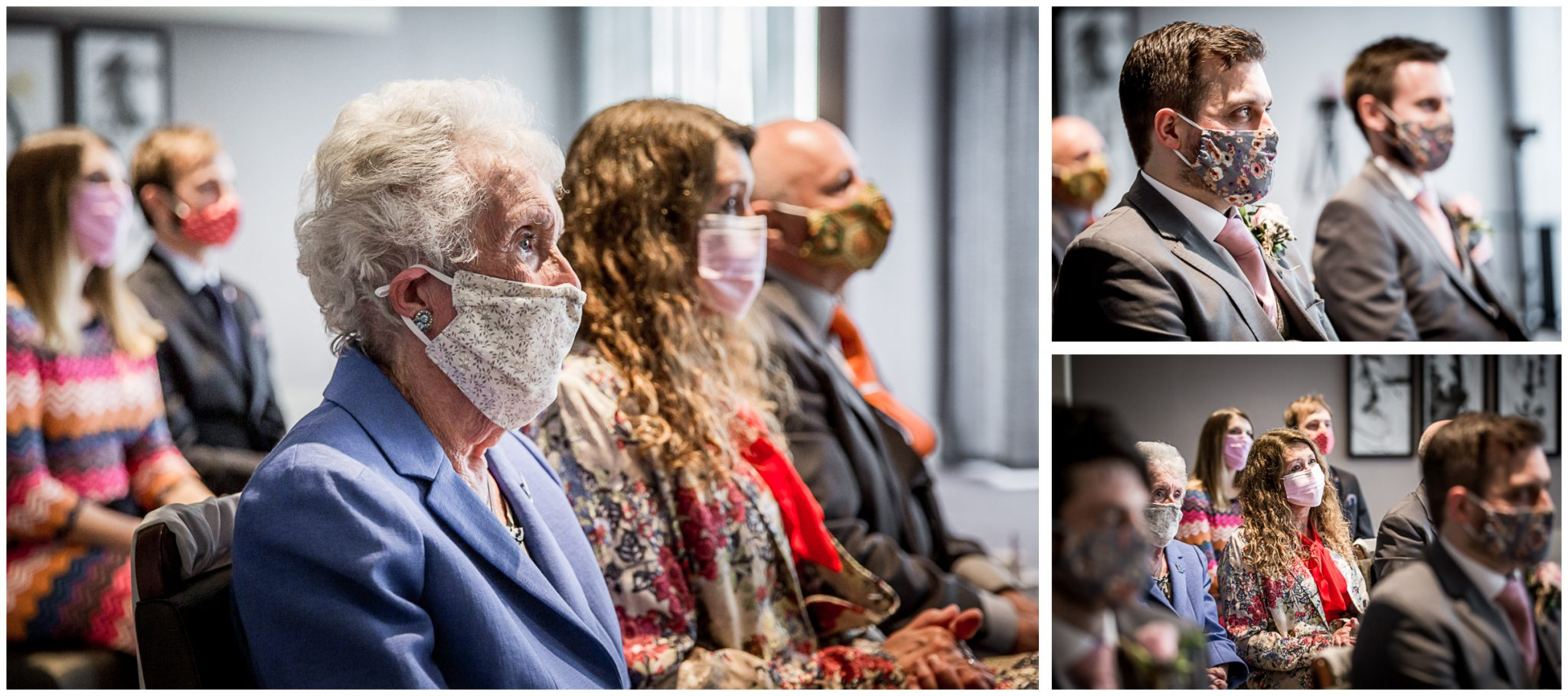 Socially distanced guests watch marriage ceremony wearing masks for covid coronavirus