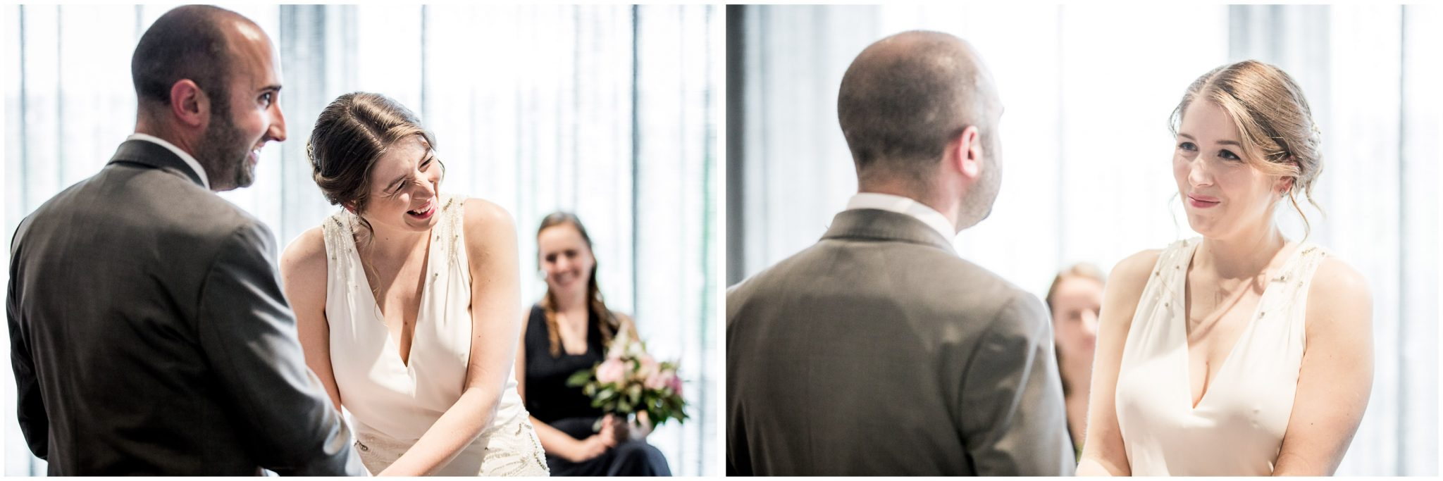 Bride and groom laughing during marriage ceremony making of vows