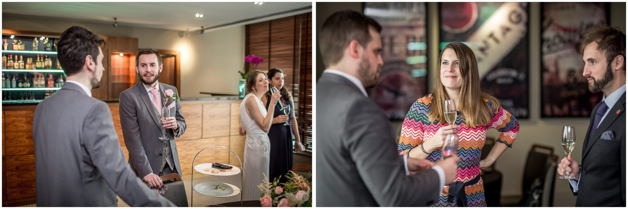 Documentary wedding photography guests at reception drinks and nibbles