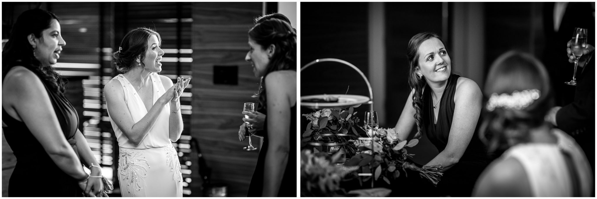 Black and white candid photography bride and bridesmaids at reception