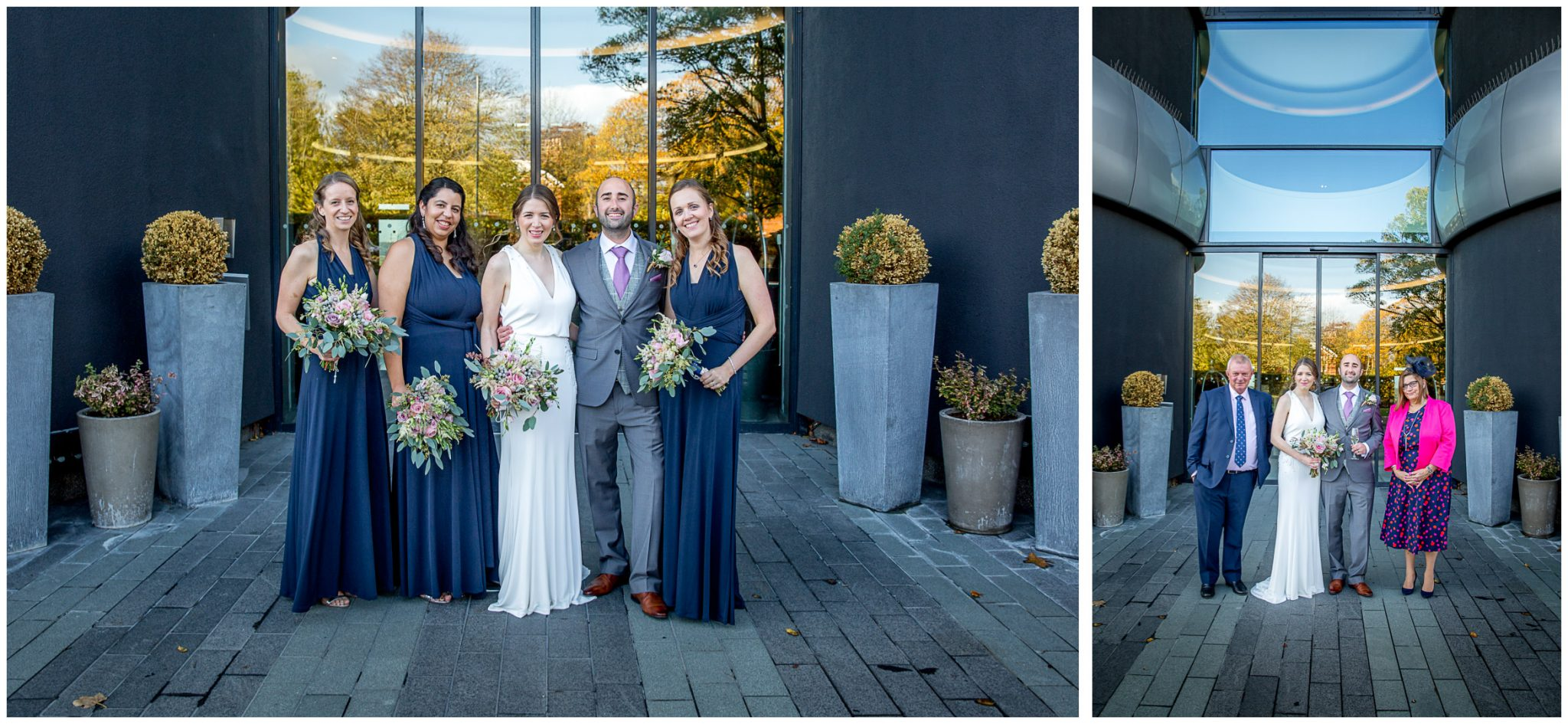 Group photographs outside main entrance of Aviator Hotel wedding