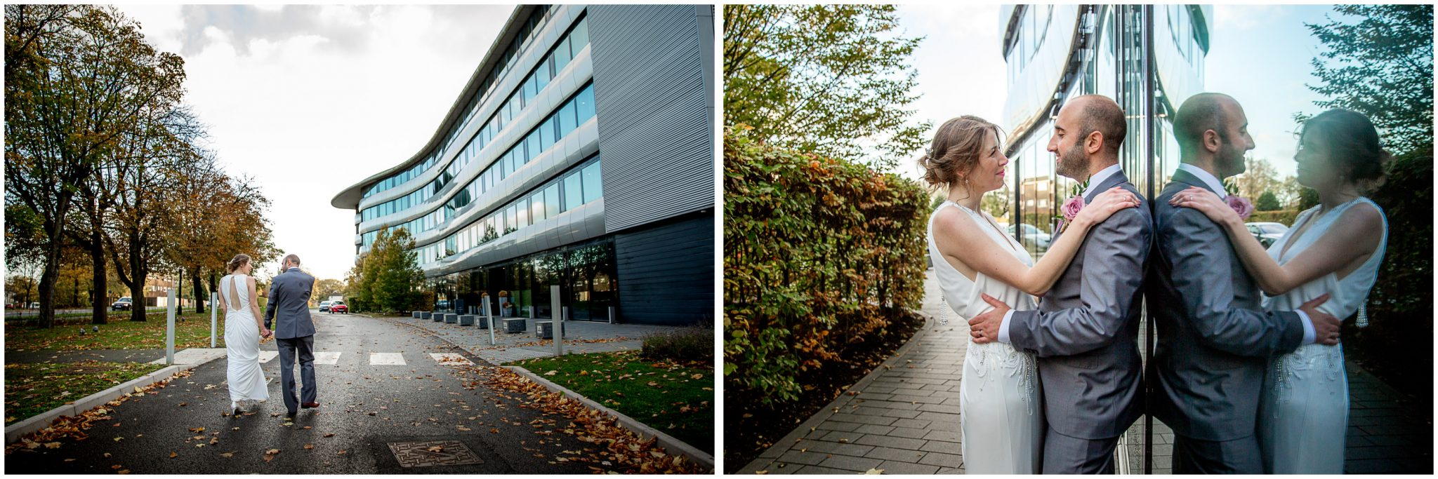 Couple portraits outside the contemporary architecture of the hotel
