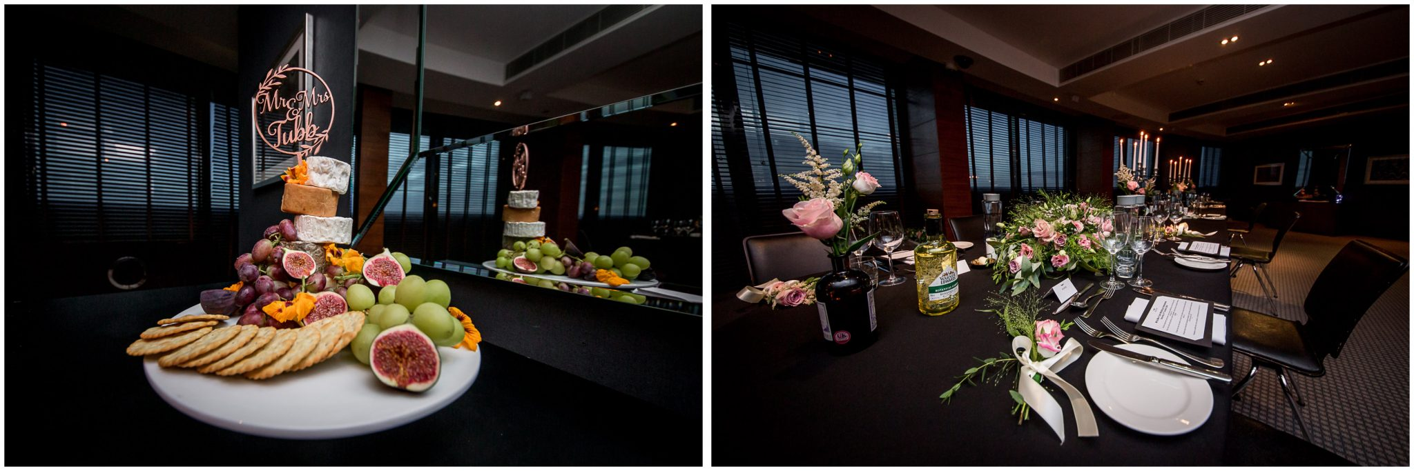 Wedding cake of cheese and table decoration details
