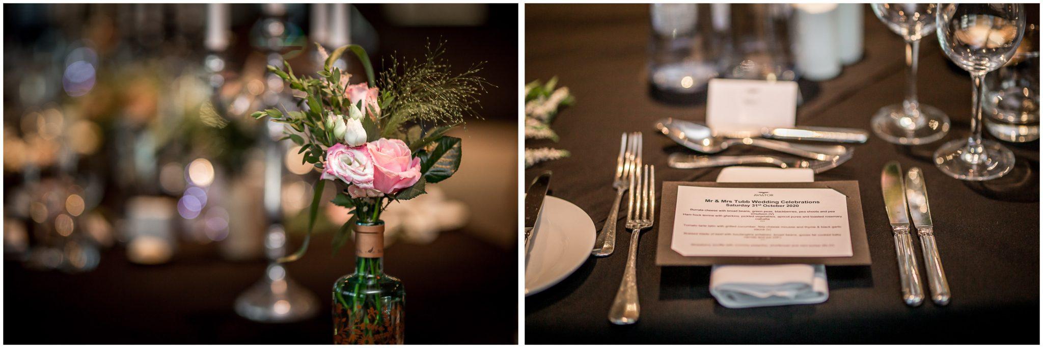 Table settings in Sky Bar